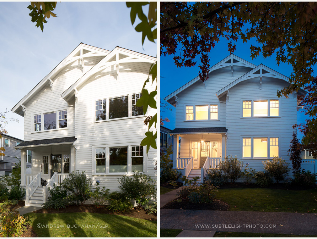 Dusk photography of a Seattle house by architectural photographer Andrew Buchanan