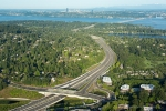 Seattle - Aerial photo of Hwy 520 Eastside approach, lidded interchanges, floating bridge, Seattle skyline for HBB Landscape Architecture
