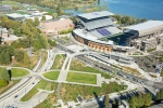 Seattle - Aerial photos of the University of Washington Light Rail Station and Husky Stadium in Seattle